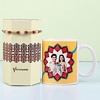 Meenakari Rakhi & Personalised Mug Combo: Rakhi to Gudivada