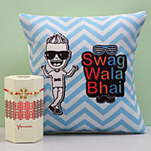 Meenakari Rakhi & Swag Wala Bhai Cushion Combo: Send Rakhi to Pimpri Chinchwad