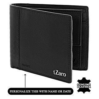 Men's Bi-Fold Black & Burgundy Wallet: