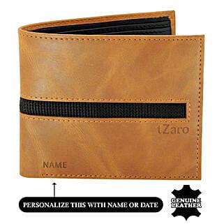 Men's Bi-Fold Tan & Black Leather Wallet: