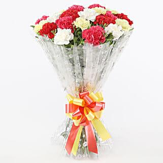Mix Coloured Graceful Carnations Bouquet: Flowers for Parents