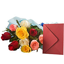 Mix Roses N Greeting Card: Flowers & Cards to Delhi