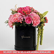 Mixed 28 Premium Flowers in Black FNP Box: New Arrival Flowers