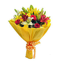 Mixed Roses N Lilies: Valentines Day Flower Bouquets