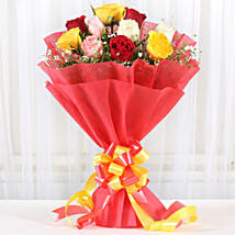 Mixed Roses Romantic Bunch: Send Anniversary Flowers for Her