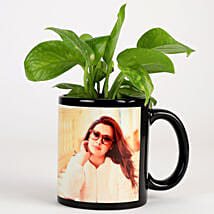 Money Plant In Personalised Mug-Black: Same Day Delivery Personalised Gifts