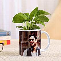 Money Plant In Stylish Personalised Mug-White: Bhai Dooj Personalised Gifts