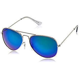 MTV Roadies Silver Blue Mirrored Unisex Aviator Sunglasses: Sunglasses for Her