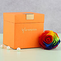 Mystic- Forever Rainbow Rose in Orange Box: Send Flowers for Parents
