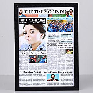 Newspaper Headline Personalised Black Frame: Personalised Photo Frames for Wife