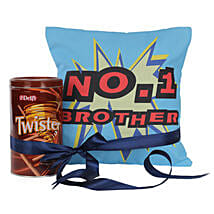 No 1 Brother Cushion With Twister: Send Chocolates to Lucknow