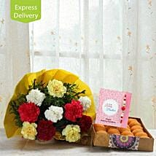 Noble Carnations With Rakhi: Rakhi With Sweets Aurangabad