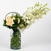 Orchids Roses Hydrangea Exotic Glass Vase Arrangement: Premium Gifts for Anniversary