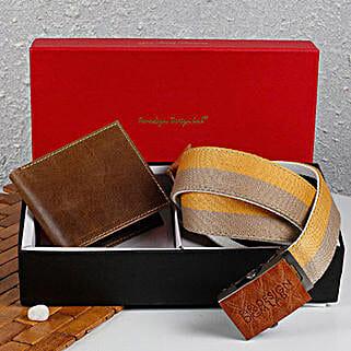 Paradigm Brown Wallet N Belt Combo: Send Belts