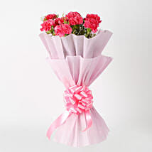 Passionate Pink Carnations Bouquet: Anniversary Flowers for Her
