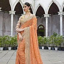 Peach and Beige Saree with Golden Worked Border: