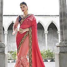 Peach Embroidered Border Chiffon Saree: Apparel Gifts