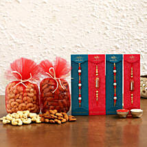 Pearl & Ethnic Rakhi Set With Dry Fruits: Rakhi with Dryfruits