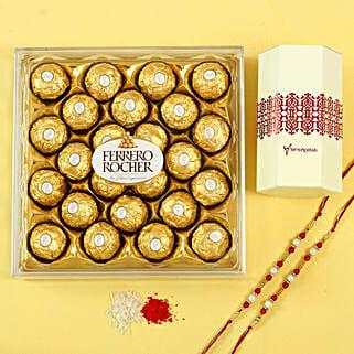 Pearl Rakhi Set & Ferrero Rocher Chocolates: Rakhi Gifts