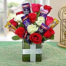 Perfect Choco Flower Arrangement: Friendship Day Chocolate Bouquet
