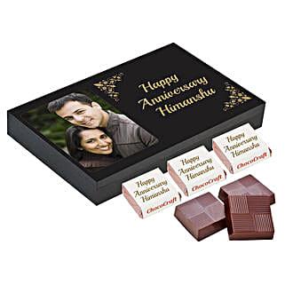 Personalised Anniversary Chocolate Box- Black: Send Personalised Chocolates for Husband