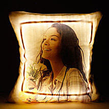Personalised Cool Yellow LED Cushion: Rakhi With Mugs