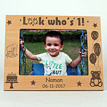 Personalised Look Who's 1 Engraved Photo Frame: Photo Frames