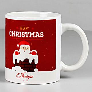 Personalised Merry Christmas Santa White Mug: Send Christmas Gifts for Her