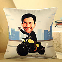 Personalised Motorcycle Caricature Cushion: New Arrival Personalised Gifts