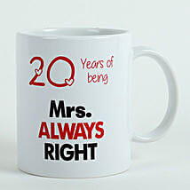 Personalised Mrs Right Mug: Anniversary Gifts to Hyderabad