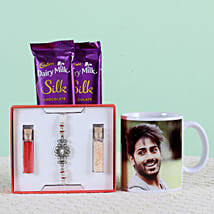 Personalised Mug With Chocolates & Rakhi: Send Rakhi to Sholapur