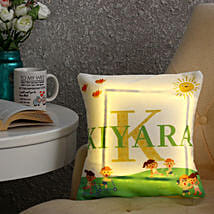 Personalised Name LED Cushion: Bhai Dooj Personalised Gifts