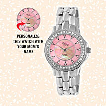 Personalised Silver & Pink Watch For Her: Personalised Gifts for Sister