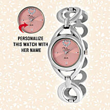 Personalised Steel Silver & Pink Watch: Personalised gifts for birthday