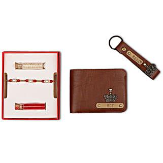Personalised Tan Brown Wallet & Keychain With Rakhi: