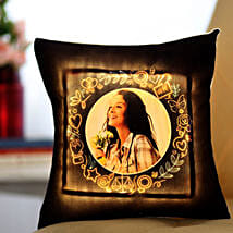 Personalised Yellow LED Cushion: Gifts For GF