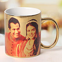 Personalized Ceramic Golden Mug: Send Wedding Gifts to Mysore