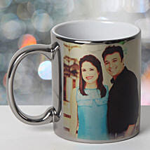 Personalized Ceramic Silver Mug: Send Birthday Gifts to Udaipur