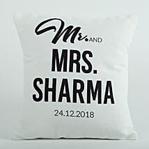 Personalized Cushion Mr N Mrs: Send Personalised Gifts to Sirsa
