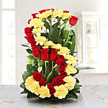 Personalised Floral Arrangement: Personalised Gifts Tirupati