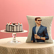 Picture Cushion & Black Forest Cake Combo: Bhai Dooj Personalised Gifts