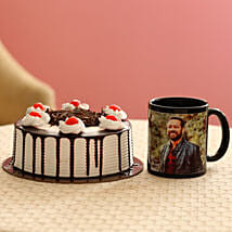Picture Mug & Black Forest Cake Combo: Bhai Dooj Personalised Gifts