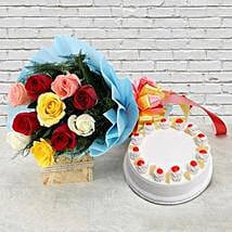 Pineapple Cake with Roses: Flowers & Cakes for New Year