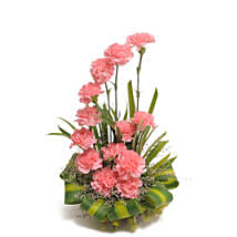 Pink Carnations Basket Arrangement: Send Anniversary Flowers for Her