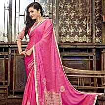 Pink Faux Georgette Saree: Saree Gifts