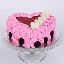 Pink Flower Heart Cake: Send Eggless Cakes to Gurgaon