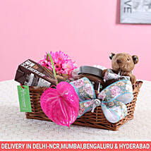 Pink Flowers & Hershey's Gift Basket: Gift Hampers for New Born