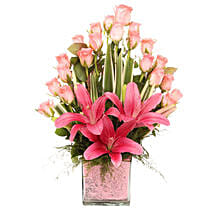 Pink Flowers Vase Arrangement: Birthday Gifts Trichy