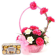 Pink N White Basket Of Flavours: Send Flowers & Chocolates for Wife