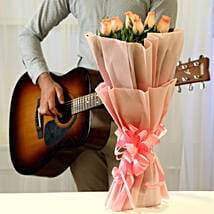 Pink Roses & Hearty Notes Combo: Flower Bouquets